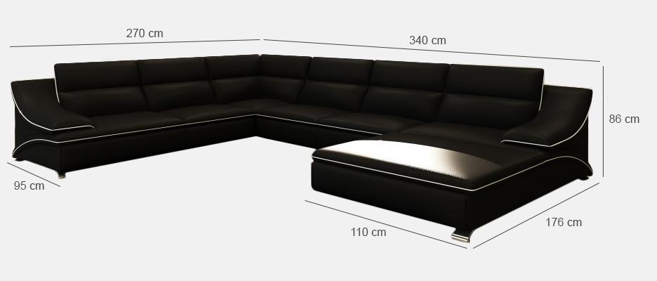 Couch u form maße  Sofas Ledersofas ELTMANN Bettfunktion Designersofa Ecksofa ...