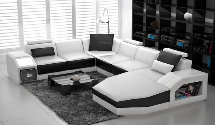 ledersofa ecksofa big sofa sofa couch polster eck wohnlandschaft mit licht neu ebay. Black Bedroom Furniture Sets. Home Design Ideas