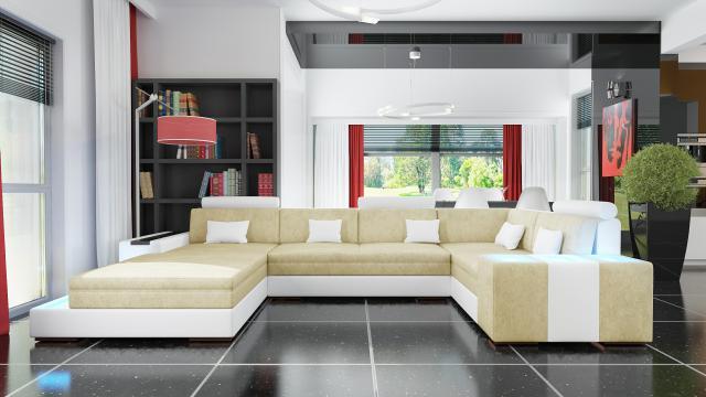 wohnlandschaft xxl big sofa stoffsofa textil ecksofa beleuchtung zaragoza. Black Bedroom Furniture Sets. Home Design Ideas