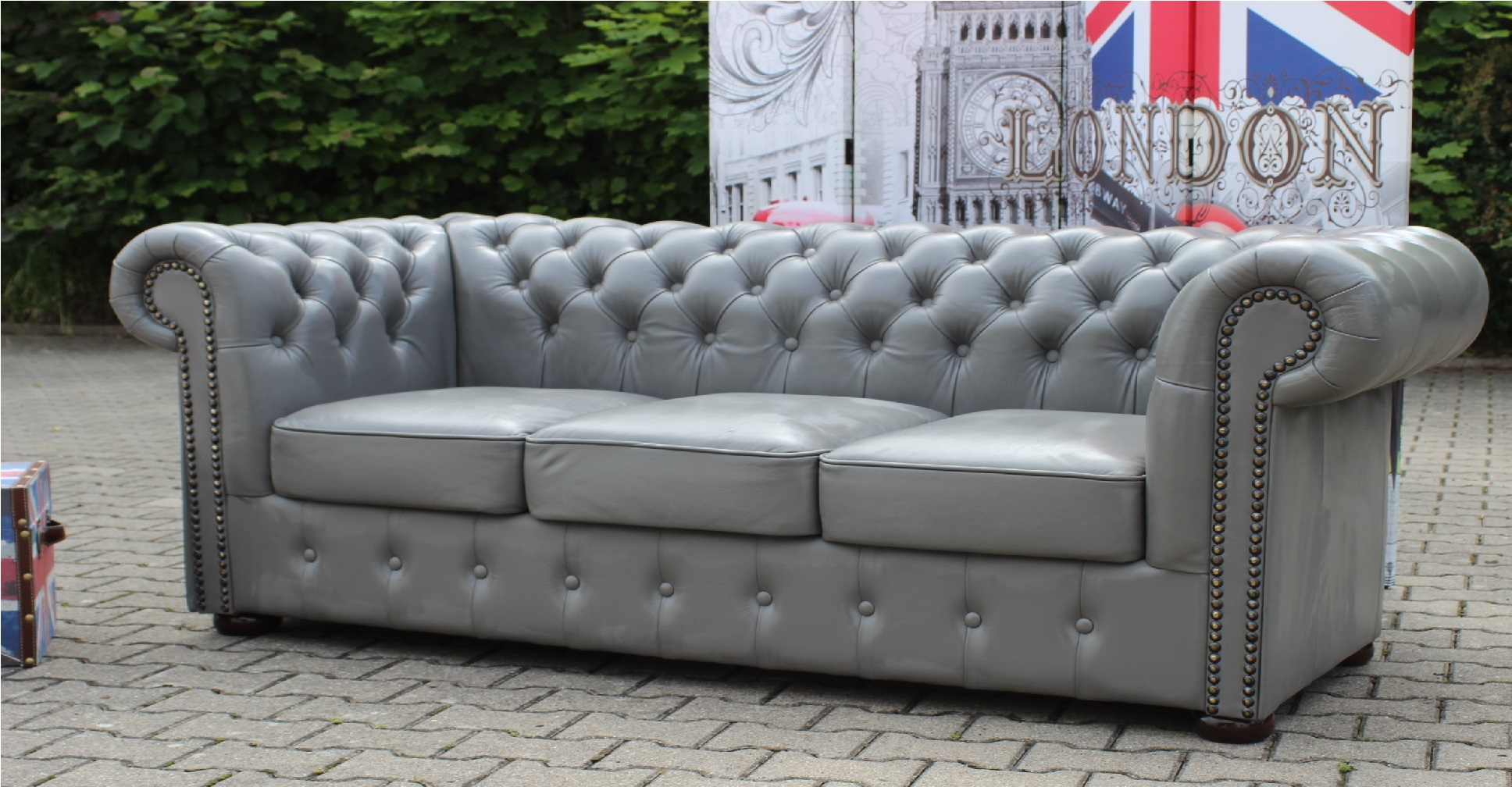 chesterfield sofa 100 vollleder rindsleder ledersofa polster couch garnitur neu. Black Bedroom Furniture Sets. Home Design Ideas