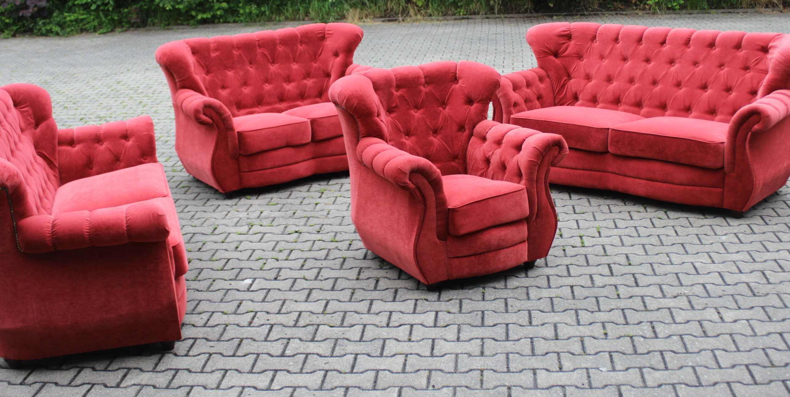 chesterfield sofa couch polster 3sitz textil stoff. Black Bedroom Furniture Sets. Home Design Ideas