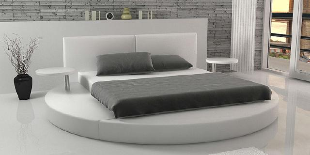 lederbett rundbett king size bett 160 180x200 cm. Black Bedroom Furniture Sets. Home Design Ideas