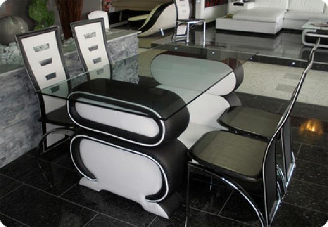 Esstischgarnitur Weiß ~ Ledertisch Esstisch + 4 Stühle Tische Stühle Stuhl  eBay