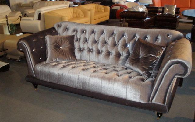 Chesterfield ecksofa stoff grau  Chesterfield Königliches Samtsofa mit Kristallen Couch Sofa Samt ...