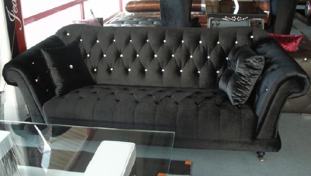 Chesterfield Sofa Sessel Sofas Stoffsofa mit Kristallen  eBay