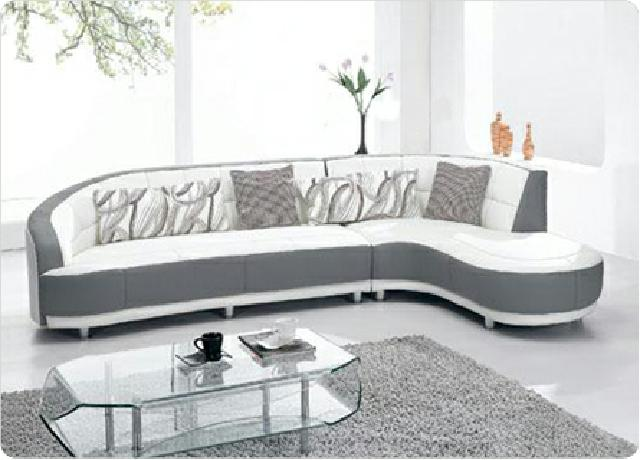 sofort lieferbar leder ecksofa couch 305 x 200cm weiss / grau, Hause deko