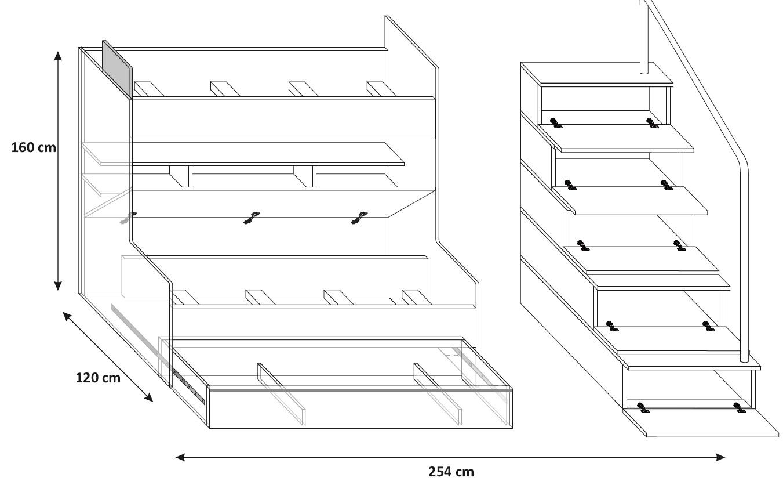 Doppelstockbett etagenbett hochglanz hochbett 90x200 - Doppelstockbett mit treppe ...