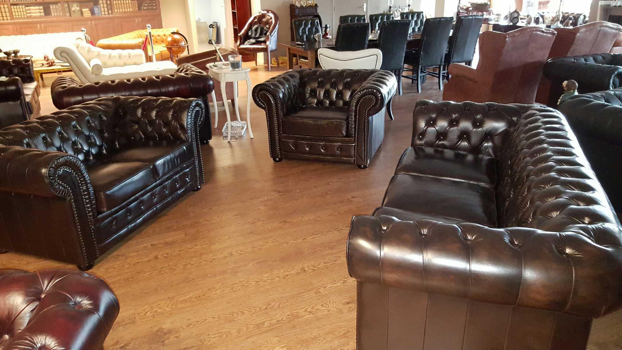 klassische ledersofa chesterfield garnitur sofagarnitur sofa couch leder sofas ebay