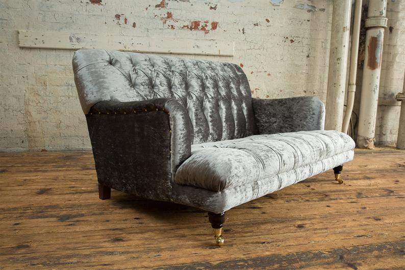 Design Chesterfield Stoff Couch Sofa 2 Sitzer Polster ...