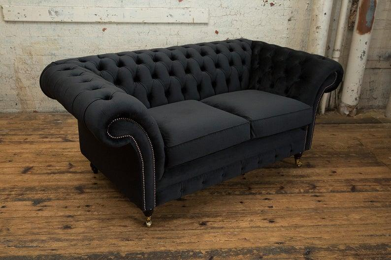 Chesterfield 2 Sitzer Couch Textil Stoff Sofa Möbel Edles ...