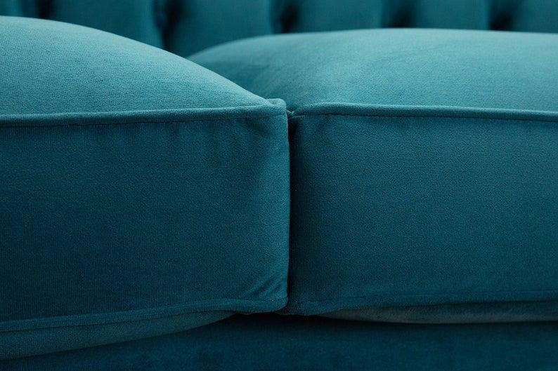 Chesterfield Couch Textil Stoff Sofa Möbel Edles Design 3 ...