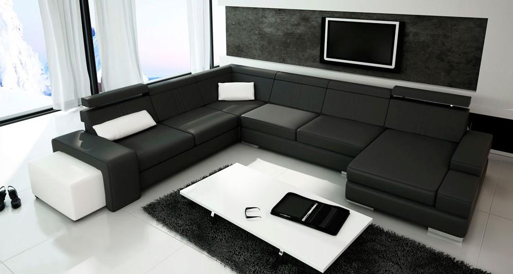 U Form Sofa Couch Polster Wohnlandschaft Blume Leder Eckgarnitur