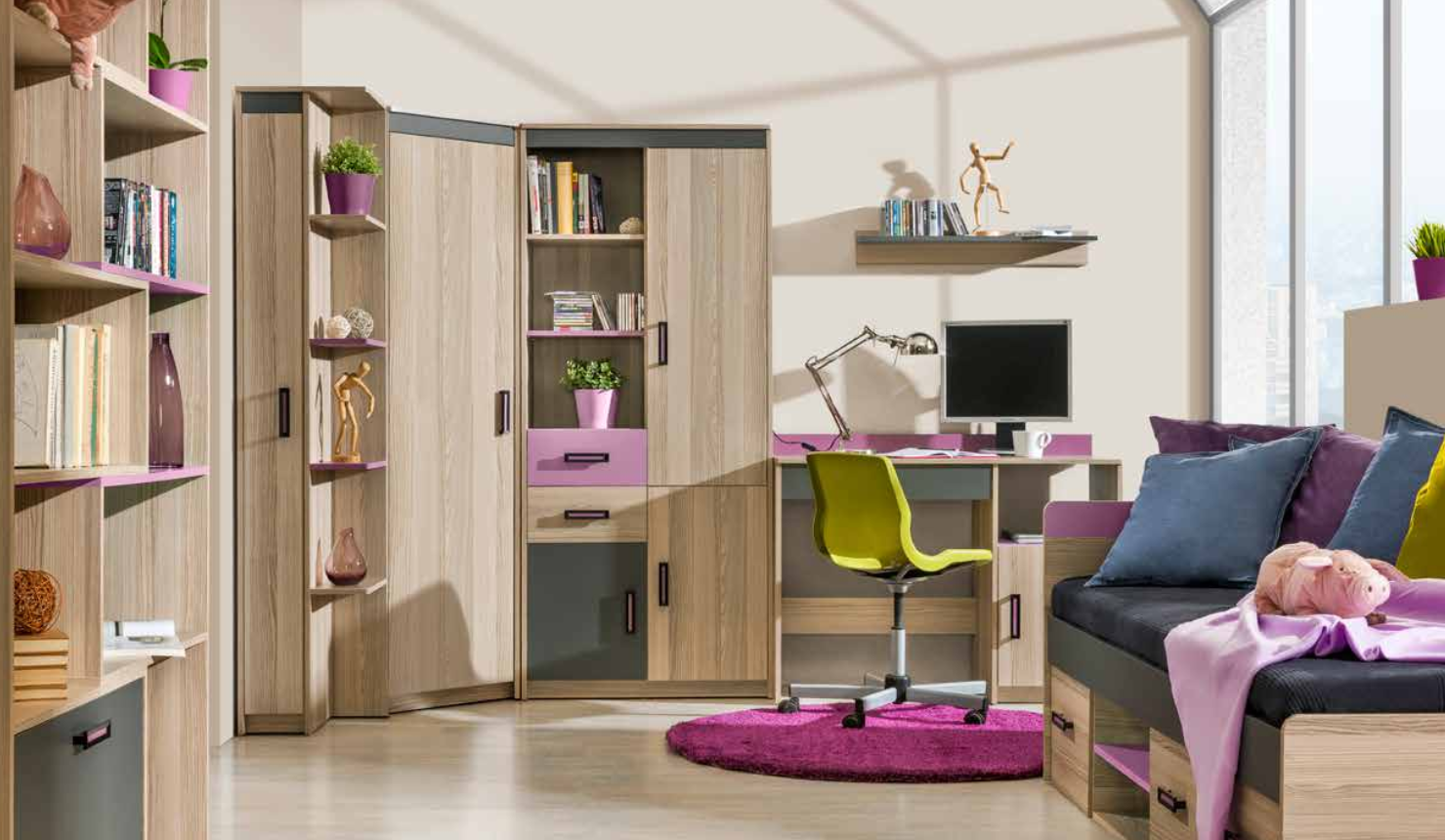 Set Zimmer Schlafzimmer Bett Kinder Kinder 7 Kommode Modern