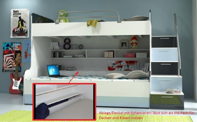 Doppelstockbett stockbett bett doppelbett etagenbett - Doppelstockbett mit treppe ...