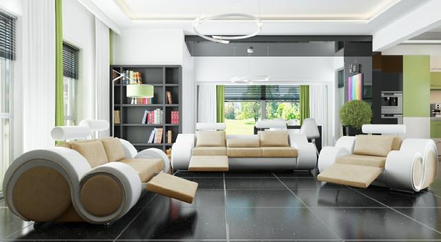 Sofagarnitur Polster Sofa Couch Leder Garnitur Wohnlandschaft 3+2+1 ...