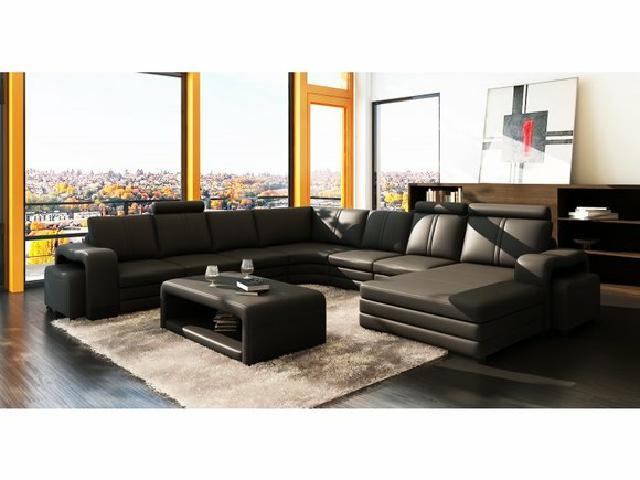 ledersofa wohnlandschaft xxl big sofa eck couch ecksofa bar mit beleuchtung neu ebay. Black Bedroom Furniture Sets. Home Design Ideas
