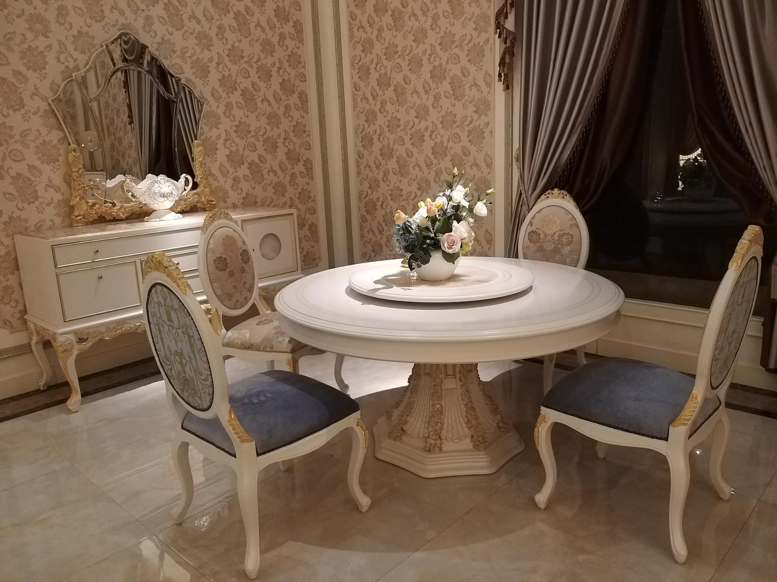 Arrotondato Sala da Pranzo Rotondo Tavolo Legno Classico ...