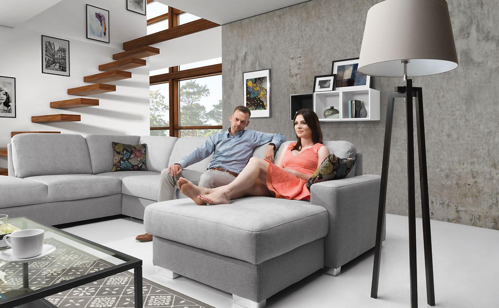 Schlafsofa Wohnlandschaft U Form Stoff Textil Sofa Couch ...