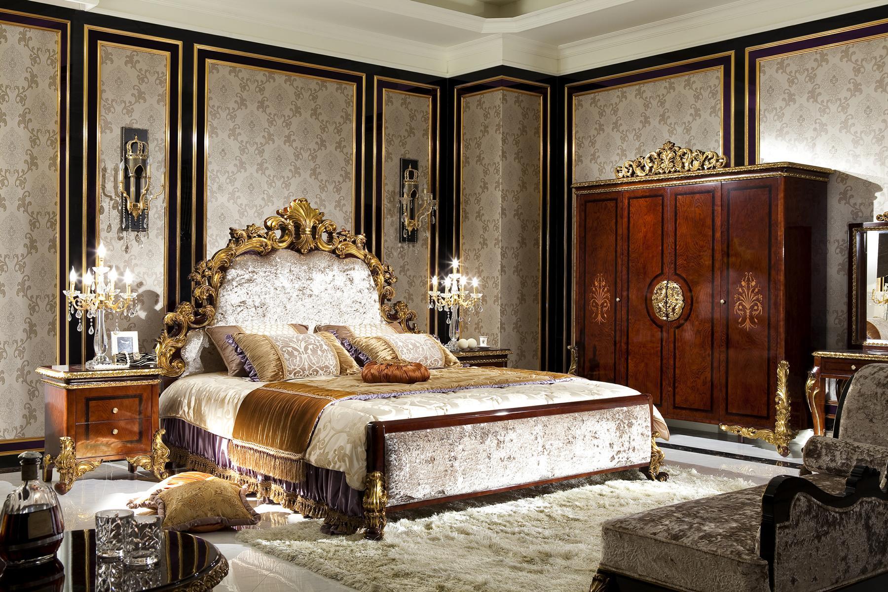 Dettagli su Camera da Letto Set Completo Console Guardaroba Letto  Rifiniture Barocco Rococo
