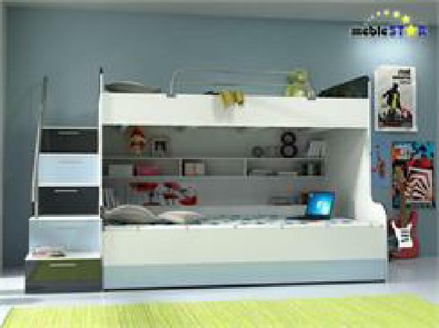 Doppelstockbett hochglanz kinder hochbett etagenbett - Doppelstockbett mit treppe ...