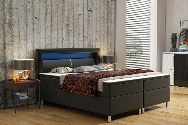 jvmoebel polsterbett lederbett bett boxspringbett box2 180x200cm. Black Bedroom Furniture Sets. Home Design Ideas